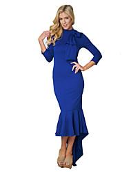 cheap -Women's Cotton Slim Bodycon / Trumpet / Mermaid Dress - Solid Colored High Waist Asymmetrical Turtleneck / Fall