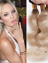 cheap -3 Bundles Brazilian Hair Wavy Virgin Human Hair One Pack Solution Human Hair Weaves Soft / Women / Hot Sale Blonde Human Hair Extensions Women's