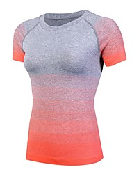 cheap -Women's Crew Neck Running Shirt - Black, Orange, Green Sports Color Gradient Spandex Tee / T-shirt Yoga, Fitness, Gym Short Sleeve Activewear Lightweight, Fast Dry, Breathability Stretchy