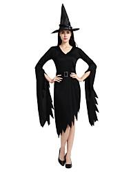 Недорогие -ведьма Костюм Универсальные Хэллоуин Хэллоуин Карнавал Маскарад Фестиваль / праздник Инвентарь Черный Однотонный Halloween