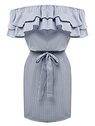 cheap -Women's Basic Sheath Dress - Striped Bow / Ruffle