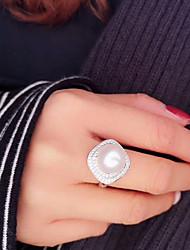 Недорогие -Жен. Пресноводный жемчуг Геометрический принт Открытое кольцо - Серебрянное покрытие, Позолота, Стерлинговое серебро S925 Классика, Мода, Элегантный стиль Регулируется Золотой / Серебряный Назначение
