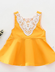 cheap -Baby Girls' Active Solid Colored Lace Sleeveless Cotton Blouse