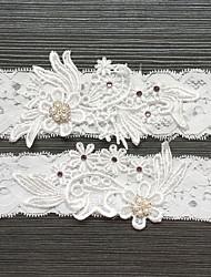 billiga -Spets Vintage Stil Bröllopskläder Med Strass / Pärla Strumpeband Bröllop / Fest / afton