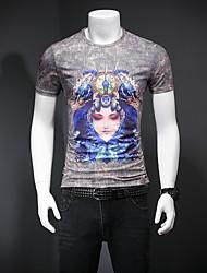 baratos -Homens Camiseta Retrato Algodão / Raiom Decote Redondo / Por favor, sempre escolha um número maior que o seu número normal. / Manga Curta
