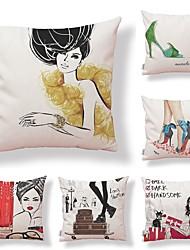 baratos -6 pçs Téxtil / Algodão / Linho Fronha, Art Deco / Simples / Estampado Forma Quadrada / Casual