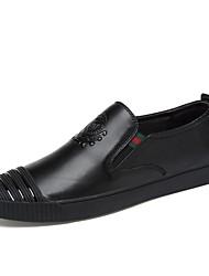 Недорогие -Муж. Наппа Leather Лето Удобная обувь Мокасины и Свитер Контрастных цветов Белый / Черный / Коричневый / Лозунг
