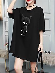 お買い得  -女性用 シャツ ドレス ソリッド 膝上