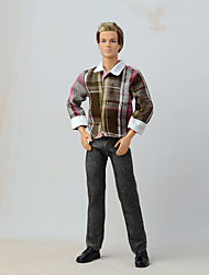 cheap -Trousers / Shirts Pants / Top For Barbie Doll Brown+Gray Textile / Linen / Cotton Blend Blouse / Pants For Girl's Doll Toy