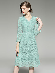 cheap -Women's Going out Vintage / Sophisticated Puff Sleeve Slim A Line Dress - Solid Colored Lace / Mesh High Waist V Neck / Summer