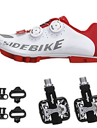 cheap -SIDEBIKE Adults' Cycling Shoes With Pedals & Cleats / Mountain Bike Shoes Nylon Cushioning Cycling Red and White Men's / Synthetic Microfiber PU