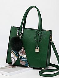 baratos -Mulheres Bolsas Pele Tote Penas / Pêlo / Caixilhos / Fitas Vermelho / Rosa / Cinzento