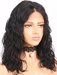 Недорогие -Remy Лента спереди Парик Бразильские волосы / Волнистые Волнистый Парик Стрижка боб 130% С детскими волосами / Природные волосы / Парик в афро-американском стиле Жен. Короткие / Средняя длина