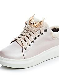 abordables -Femme Chaussures Similicuir Automne hiver Confort Basket Marche Talon Plat Bout rond Bottine / Demi Botte Argent / Rose et blanc