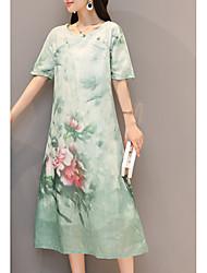 cheap -women's party tunic dress - floral midi