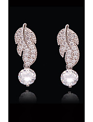 abordables -Femme Cristal - Plaqué or, S925 argent sterling Forme de Feuille, Fleur, Clover Européen, Mode Blanc et argent Pour Plein Air / Vacances