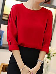 Недорогие -женская блузка - сплошной цветной / цветной блок вокруг шеи
