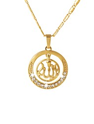baratos -Mulheres Colares com Pendentes  -  Étnico Formato Circular Fé FAITH Dourado Prata Ouro Rose 55cm Colar Para Presente Diário