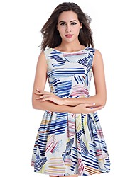 cheap -Women's Cute Street chic A Line Skater Dress - Geometric Print