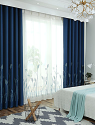cheap -Blackout Curtains Drapes Living Room Floral 100%Polyester Faux Linen Embroidery