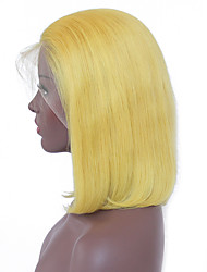 cheap -Remy Human Hair Lace Front Wig Peruvian Hair Straight Blonde Wig Bob Haircut 130% With Baby Hair / Soft / Silky Blonde Women's Short Human Hair Lace Wig / Natural Hairline