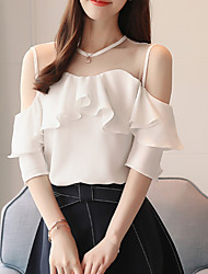 cheap -Women's Basic Blouse - Solid Colored Mesh / Patchwork