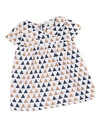 abordables -Bebé Chica Azul y Blanco Estampado Manga Corta Vestido