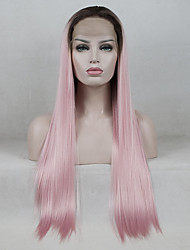 cheap -Synthetic Lace Front Wig / Ombre Straight Pink Middle Part 130% Density Synthetic Hair Color Gradient / Medium Size / Middle Part Black / Pink Wig Women's Long Lace Front Black / Pink