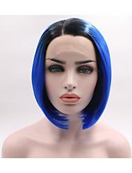 abordables -Peluca Lace Front Sintéticas Ondulado Corte a capas Pelo sintético Confortable Azul Peluca Mujer Corta Encaje Frontal / Sí