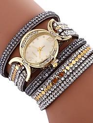 baratos -Mulheres Bracele Relógio Chinês imitação de diamante / Relógio Casual PU Banda Boêmio / Fashion Preta / Branco / Azul