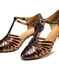 Недорогие -Жен. Обувь для модерна Полиуретан На каблуках Тонкий высокий каблук Танцевальная обувь Черный и золотой / Выступление / Тренировочные