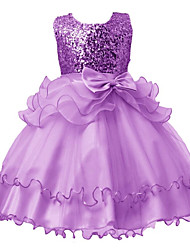 cheap -Kids Girls' Solid Colored Sleeveless / Short Sleeve Dress
