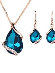 abordables -Mujer Conjunto de joyas - Chapado en Oro Simple, Encantador, Moda Incluir Gargantillas / Collares con colgantes / Los sistemas nupciales de la joyería Verde Para Boda / Fiesta de Noche