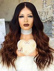 baratos -Cabelo Remy Peruca Cabelo Brasileiro Ondulado Corte em Camadas 150% Densidade Com Baby Hair / 100% Virgem Marrom Curto / Longo /