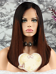 baratos -Cabelo Remy Peruca Cabelo Brasileiro Liso Corte em Camadas 130% Densidade Com Baby Hair / 100% Virgem Marrom Curto Mulheres Perucas de
