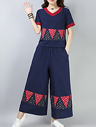 cheap -Women's Plus Size Vintage / Active Flare Sleeve Cotton Set - Solid Colored, Pleated Pant / Spring
