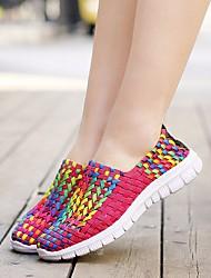 Недорогие -Жен. Обувь Ткань Весна Удобная обувь Мокасины и Свитер На плоской подошве Оранжевый / Красный / Синий