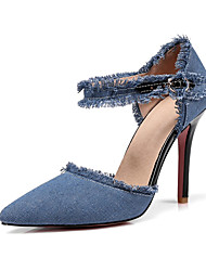 cheap -Women's Shoes Canvas Spring & Summer Basic Pump Heels Walking Shoes Stiletto Heel Pointed Toe Black / Dark Blue / Light Blue / Wedding