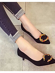 cheap -Women's Shoes PU Spring Basic Pump Heels Stiletto Heel Pointed Toe for Black / Almond
