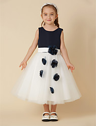 cheap -A-Line Knee Length Flower Girl Dress - Satin / Tulle Sleeveless Scoop Neck with Sash / Ribbon / Flower by LAN TING BRIDE®