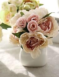 baratos -Flores artificiais 8.0 Ramo Casamento / Estilo simples Peônias / Flores eternas Flor de Mesa