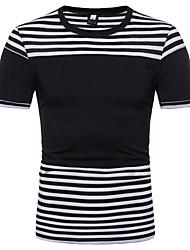 abordables -Tee-shirt Homme, Rayé Basique