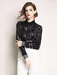 baratos -Mulheres Camisa Social Activo / Moda de Rua Estampado, Geométrica
