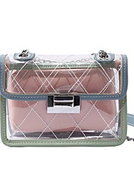 baratos -Mulheres Bolsas PVC Bolsa de Ombro Botões / Ziper Azul / Branco / Rosa