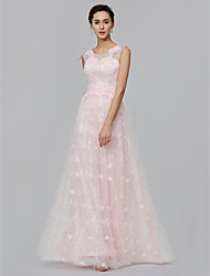 cheap -A-Line Illusion Neck Floor Length Lace Prom / Formal Evening Dress with Appliques by TS Couture®