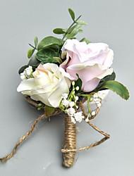 baratos -Bouquets de Noiva Alfinetes de Lapela / Buquê de Pulso Casamento / Festa Poliéster 3.94 polegada