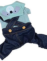 abordables -Chiens / Chats / Animaux de Compagnie Combinaison-pantalon Vêtements pour Chien Taches / Jeans / Bande dessinée Bleu / Rose / Bleu marine