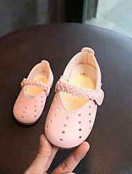 baratos -Para Meninas Sapatos Couro Ecológico Verão Sapatos para Daminhas de Honra Sapatos de Barco para Ao ar livre Branco Rosa claro