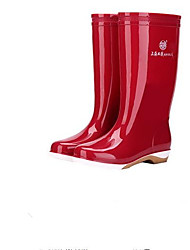Недорогие -Жен. Обувь КожаПВХ Весна лето Резиновые сапоги Ботинки На низком каблуке Зеленый / Синий / Миндальный