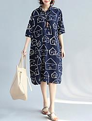 Недорогие -Жен. Рубашка Платье - Контрастных цветов Средней длины